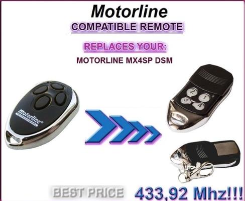 Motorline MX4SP DSM compatible remote control, replacement 433,92Mhz rolling code