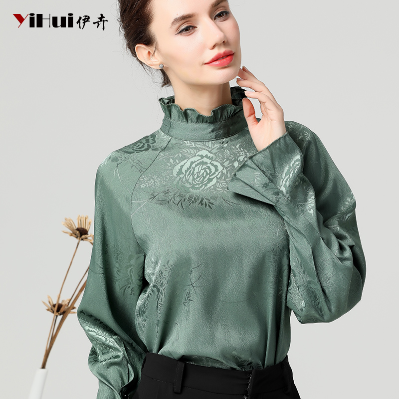 Vintage Floral Printed Satin Blouse Female Flare Sleeve Stand Ruffled Tops Plus Size Solid Color Mature Woman Blouses And Tops