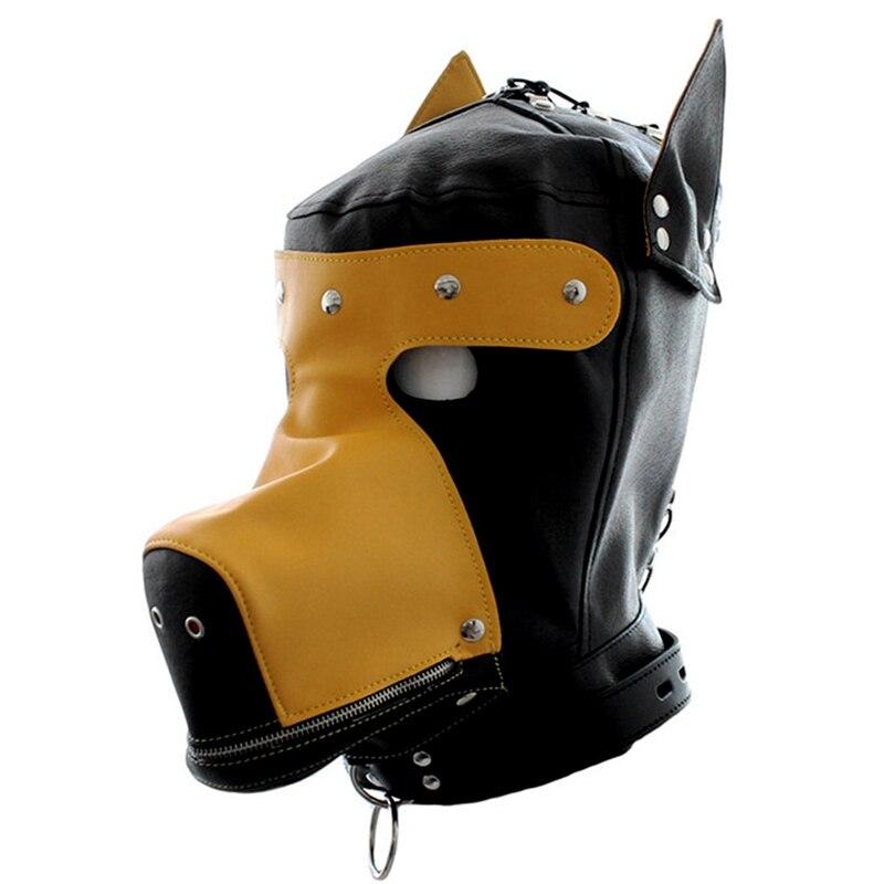 Голова Кожа жгут полиуретановая маска капюшон рот Даг БДСМ костюм фетиш бондаж регулируемый - Цвет: PG0180