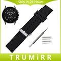 Caucho de silicona correa de reloj de 22mm para el vector luna meridiano smart watch correa de resina pulsera de la muñeca de acero inoxidable hebilla negro