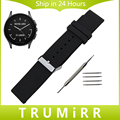 Pulseira de borracha de silicone de 22mm para o vetor luna meridiano smart watch banda fivela de aço inoxidável pulseira de resina pulseira de pulso preto