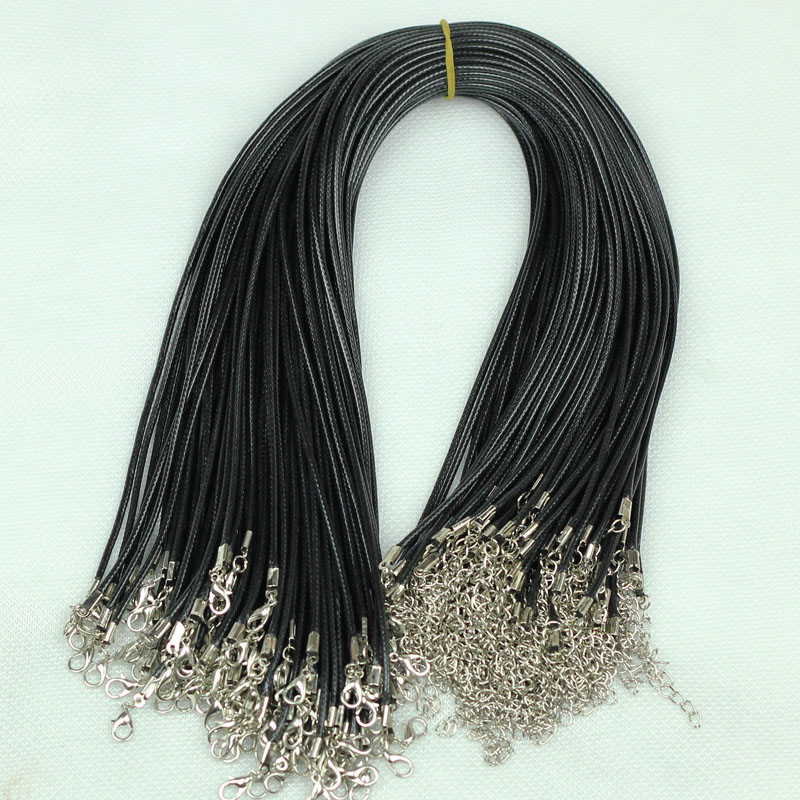 Lots Black Waxed Cotton Braided Leather Cord Necklace With Lobster Clasp 1.5MM