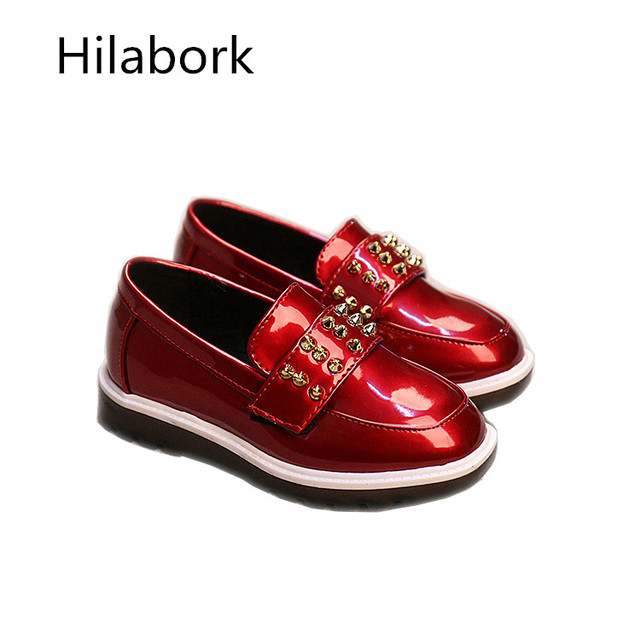 2017 spring new children's shoes non-slip shoes fashion mirror a pedal boys girls casual shoes A60876 red and black 26-30 size