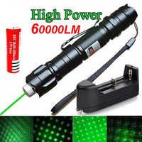 Láser verde de alta potencia 303 puntero 10000m 5mW de tipo colgante al aire libre de larga distancia de visión láser potente de la cabeza estrellada