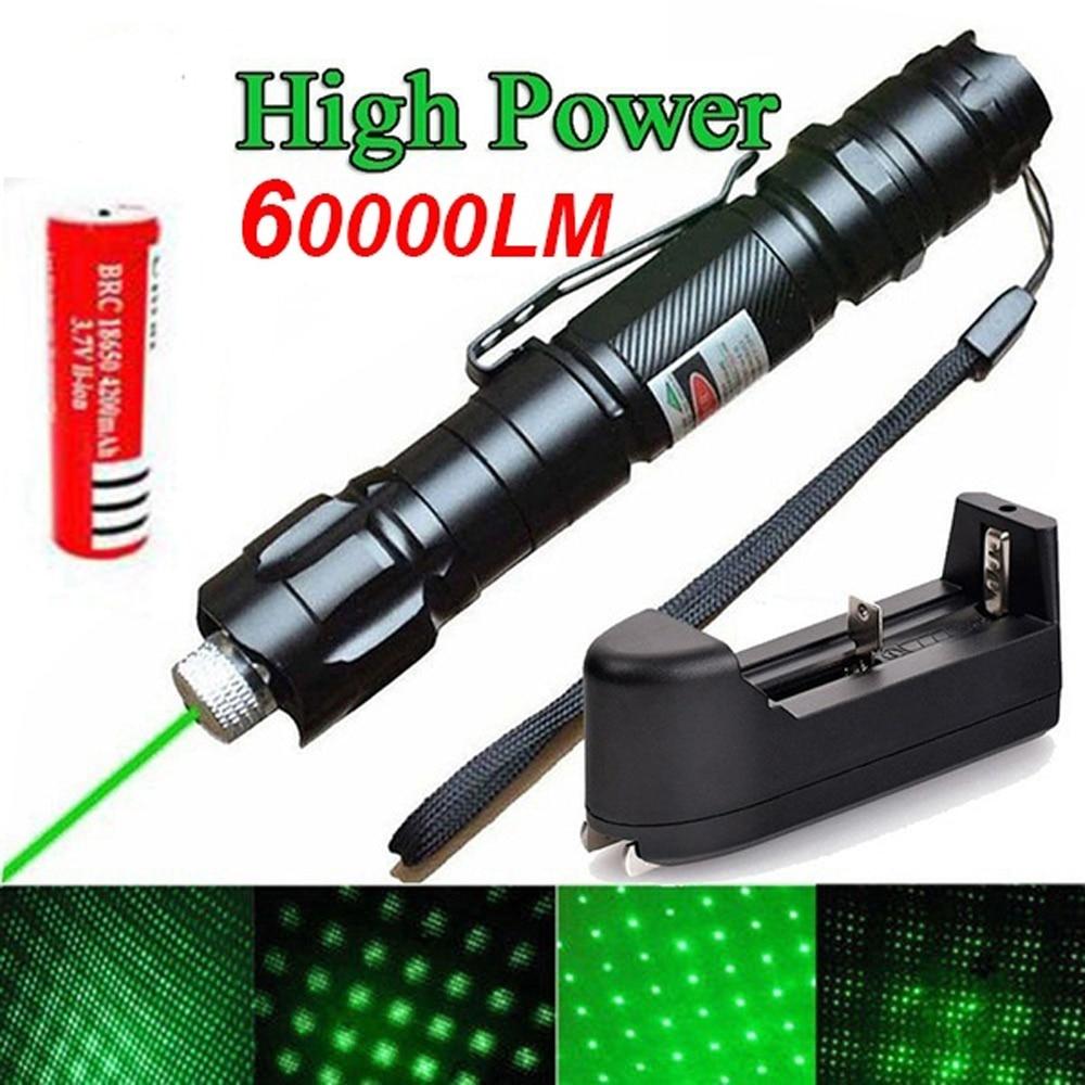 Láser verde de alta potencia 303 puntero 10000m 5mW tipo colgante distancia exterior de larga distancia vista láser potente cabeza estrellada quema partido