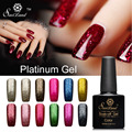 Saviland 1pcs Platinum UV Nail Gel Polish Soak Off 12 Colors Shining Glitter Vernis Semi Permanent Nail Varnishes