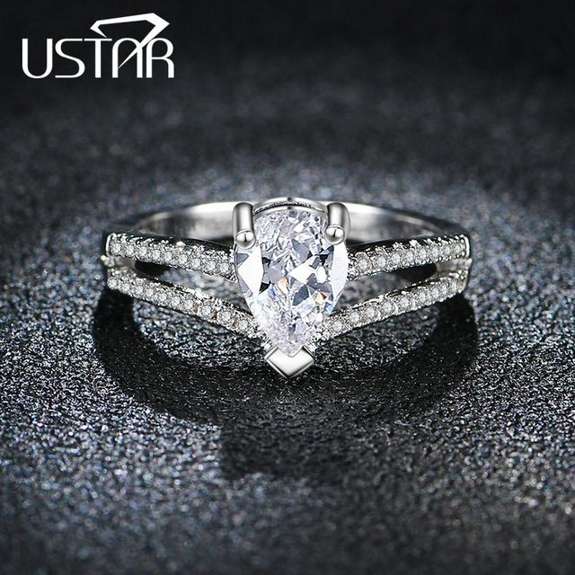 New 2017 AAA Zircon Heart Crystals wedding rings for women silver color engagement crown rings female anel fashion Jewelry