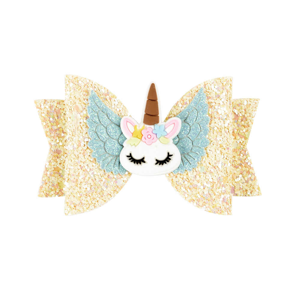 Hair Accessories Hair Bows for Girls Shiny Glitter Hair Clips 3'' Cute Elk Unicorn Hairpins Kids Princess Hair Accessory