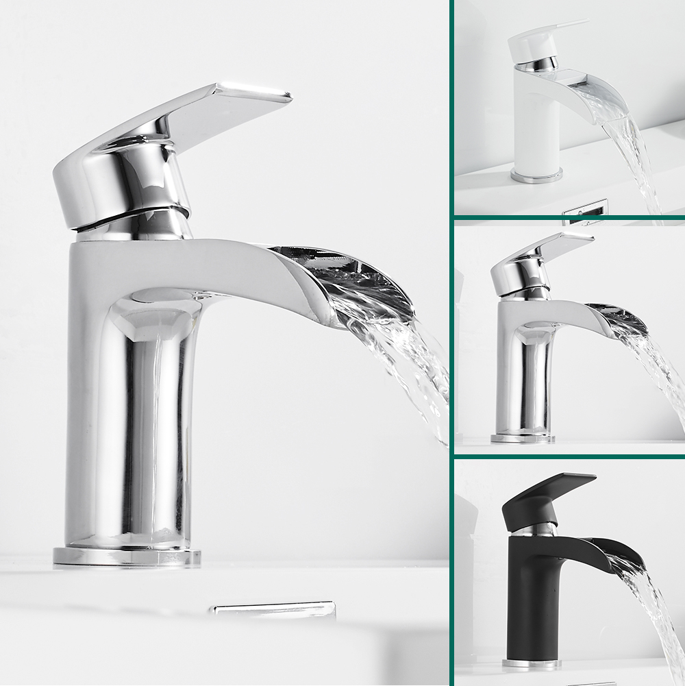Waterfall Basin Faucet Sink Tap Bathroom Brass Hot Cold Mixer Water Single Holder Hole Torneira Kitchen Contemporary-in Basin Faucets from Home Improvement    1