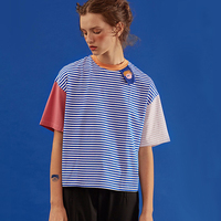 Playful 2016 Summer New Listing WomenT Shirt Korean Harajuku Original Design Tshirts Blue Short Sleeved Striped