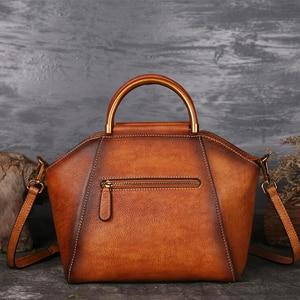 Image 2 - Original 100% Genuine Leather Bag Retro Embossed Cowhide Women Handbags High Quality Vintage Manual Paint Crossbody Hobos Bags