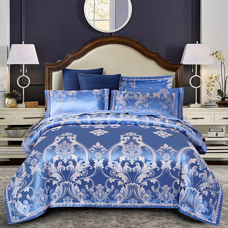 Blue Luxury European Style Silk Cotton Jacquard Bedding Set Lace Duvet Cover Bed sheet/Linen Pillowcases Queen King Size 4pcsBlue Luxury European Style Silk Cotton Jacquard Bedding Set Lace Duvet Cover Bed sheet/Linen Pillowcases Queen King Size 4pcs