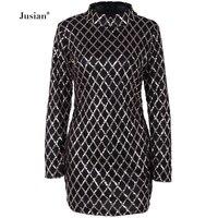 Jusian Women's Sexy Turtleneck Sequins Dress Summer Package Hip Dress Fashion Rhombus Long Sleeve Dress Black Champagne F 1211