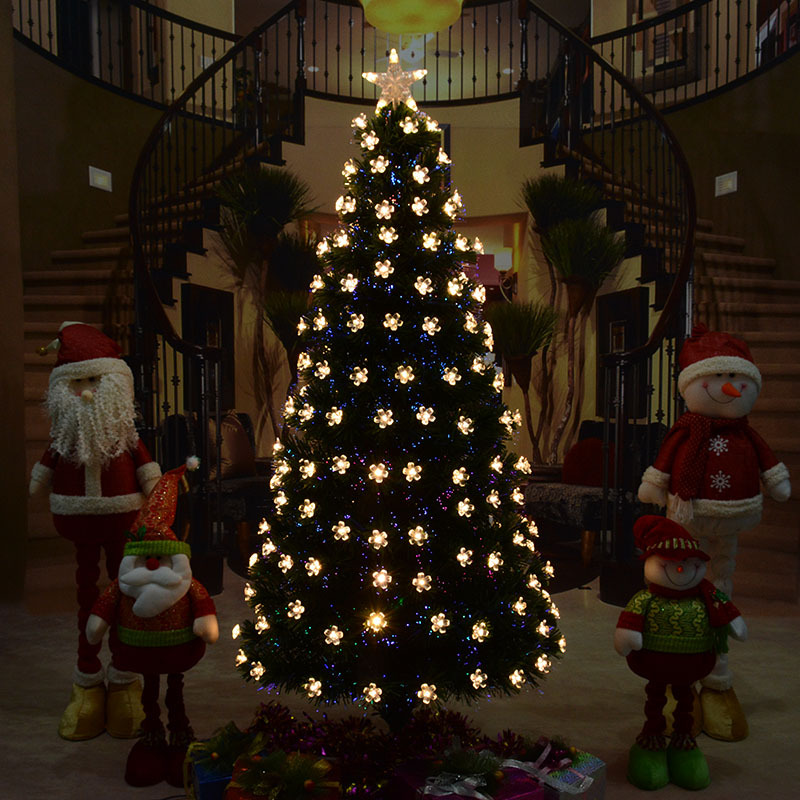 Большая Рождественская елка волоконно оптический светодиодный искусственный Рождественское дерево зеленый/черный лист ПВХ комплект для р...