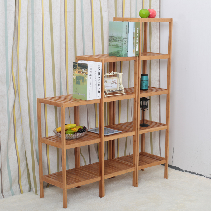Bamboo Decorative Shelf Wood Bookcase Shelving Floor