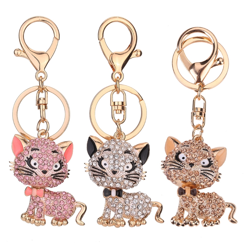 JAVRICK Lovely Cat Keychain Rhinestone Handbag Charm Pendant Car Key Chain Ring Gift