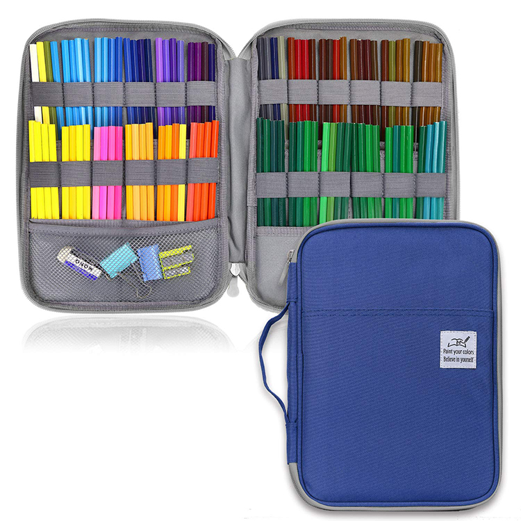 96/192 Holes Solid Color School Pencil Case Stationery Large Capacity Colored Sketch Pen Supplies Storage Bag Penalty Pencilcase