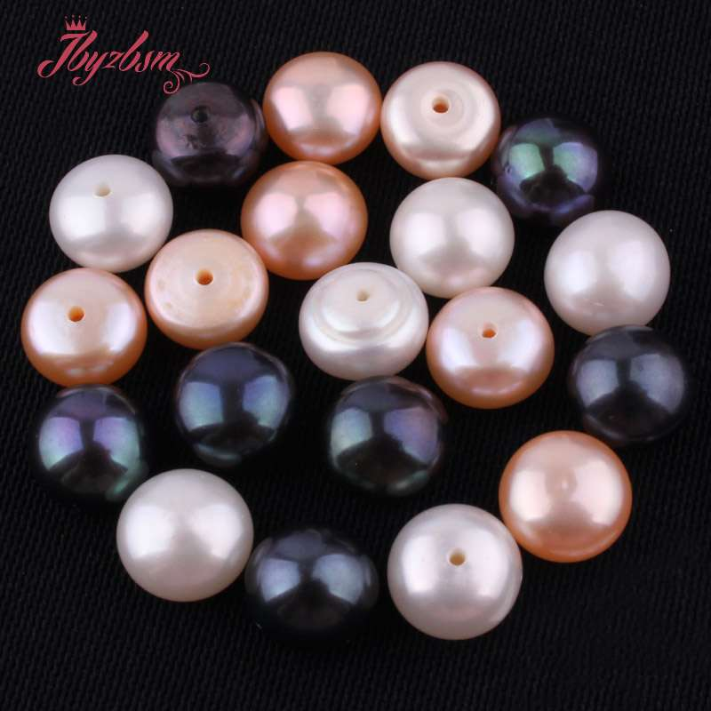 Beads Beads & Jewelry Making 10mm Half Drilling Freshwater Pearl Beads Natural Stone Beads 1 Pair For Diy Earring Jewelry Making,wholesale Free Shipping Lustrous