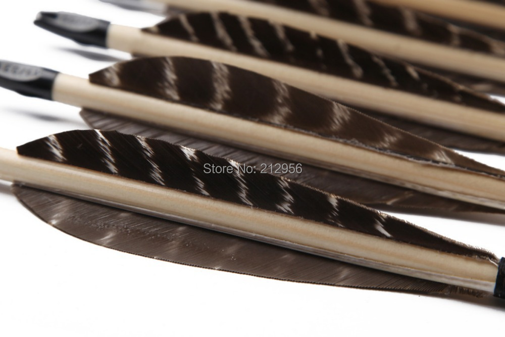ФОТО 12PCS Manual Eagle Feather Arrows For Longbow With Wood Shaft Inches WEFT2