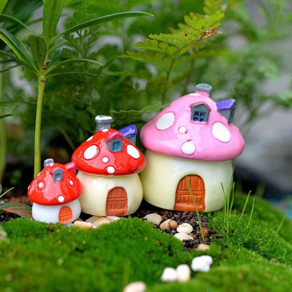 Милый DIY смоляный Сказочный Сад ремесло украшение миниатюрный микро гномический Террариум Средиземноморский дом замок и грибы подарок