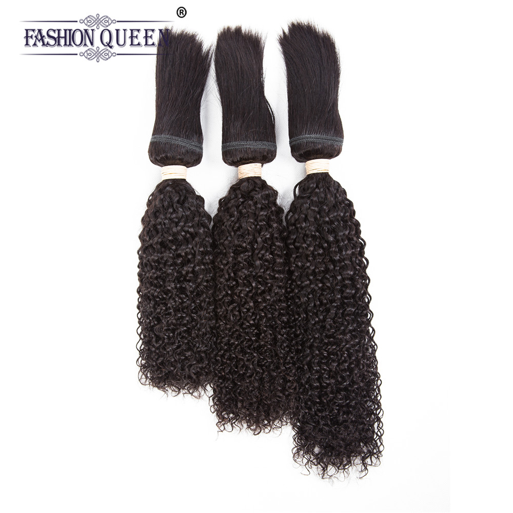 Braid in Bundles Brazilian Human Hair Kinky Curly 3 Bundles 120g/Pc No Glue No Thread Braid in Human Hair Extensions ...
