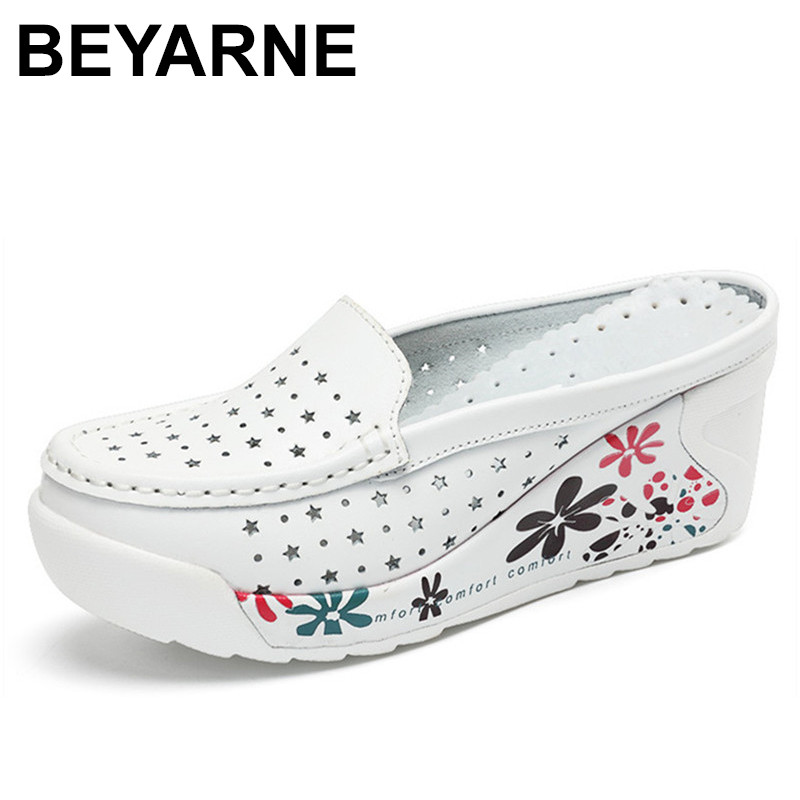 BEYARNE Shoes Women Creepers Flat Breathable Genuine-Leather Casual Summer