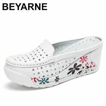 BEYARNE genuine leather summer shoes women creepers casual breathable flat platform shoes woman summer casual shoes woman - DISCOUNT ITEM  50% OFF All Category