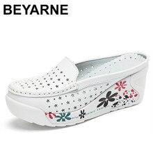 Beyarne couro genuíno sapatos de verão das mulheres creepers casuais respirável sapatos de plataforma plana mulher verão sapatos casuais mulher