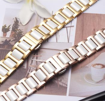 Butterfly Buckle Ceramic mix metal wristband for Samsung Galaxy watch 42 46mm band active Gear s2 s3 Ticwatch 1 2 E Pro strap