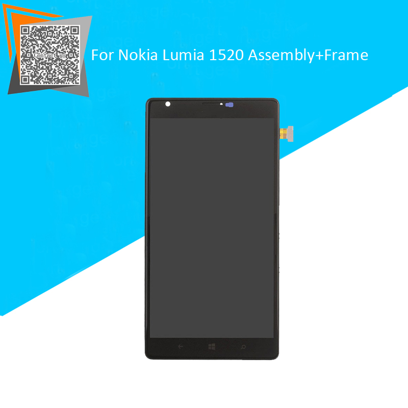 100% Tested For Microsoft for Nokia Lumia 1520 LCD Display+Touch Screen Digitizer Glass With Frame Full Assembly Repartment new original laptop keyboard for lenovo thinkpad t460p t460s us keyboard english with backlit backlight 00ur395 00ur355