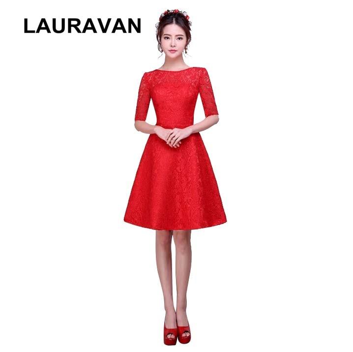 Women Elegant Half Sleeved Lace Bridesmaid Dresses Sleeve Red Classy Vestidos De Festa New Fashion 2019 Girls Dress