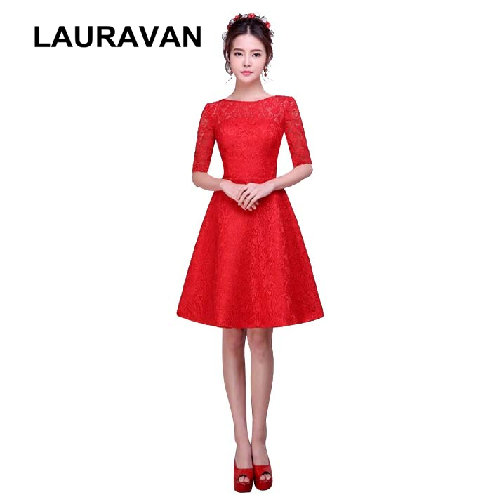 women elegant half sleeved lace   bridesmaid     dresses   sleeve red classy vestidos de festa new fashion 2019 girls   dress
