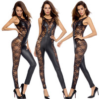 Sexy Lingerie Hot Large Size Imitation Leather Body Suit Strapless Sexy Costumes Thin Waist Corset Pleated women erotic lingerie