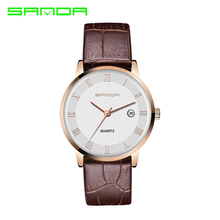 2016 New Crystal Glass Woman Watches Men Quartz Watch Waterproof Leather Watchband SANDA Business Men Watch Free Shipping