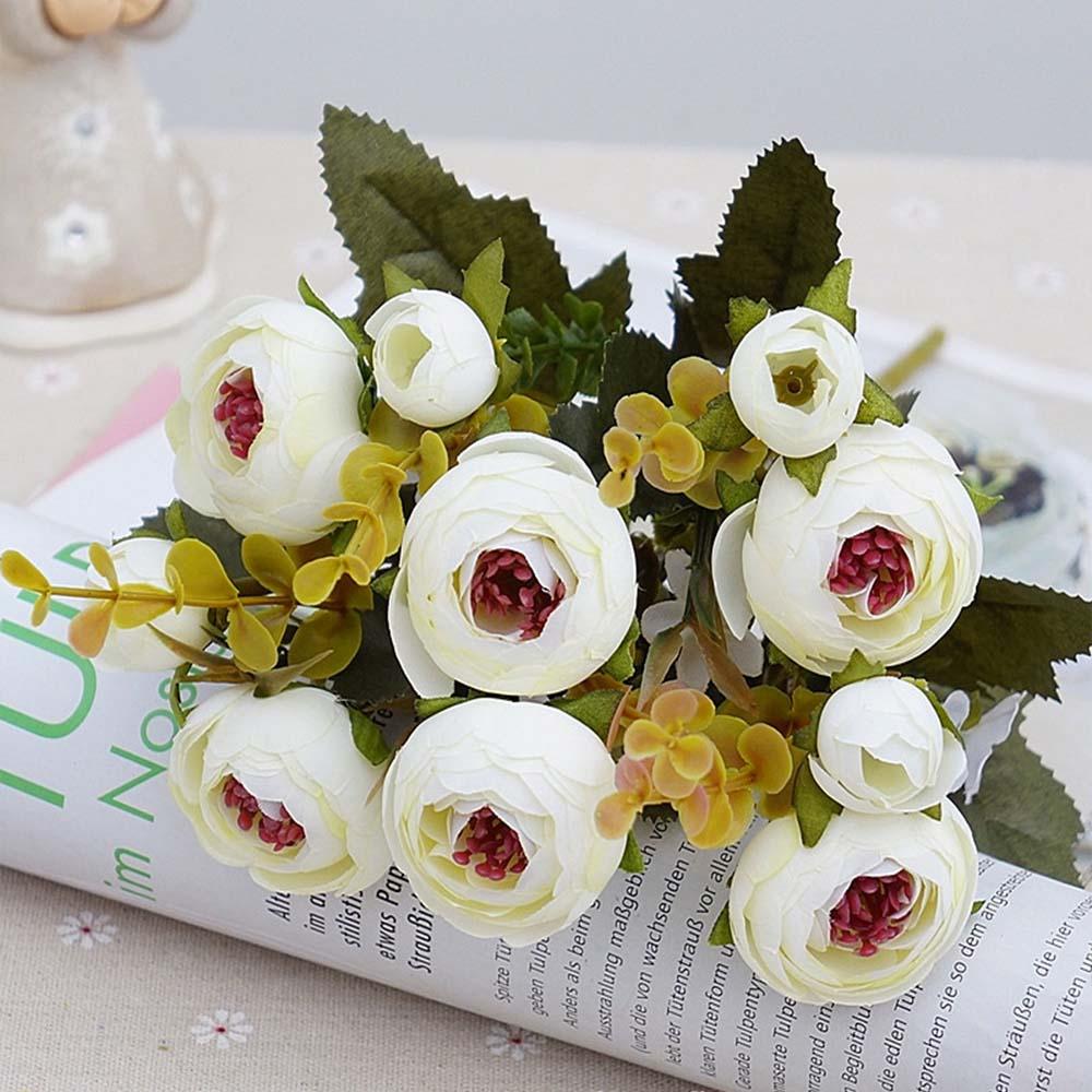 10 голов/1 Набор шелковых чайных роз, букет невесты для рождества, дома, свадьбы, Нового года, украшения, искусственные цветы - Цвет: white