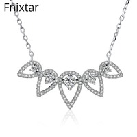 Fnixtar Real 925 Sterling Silver Dazzling Flowers Pendant Necklaces For Women S925 Jewelry Valentine S Day