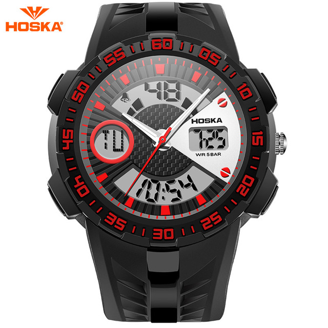 Male Fashion Sport Military Wristwatches 2017 HOSKA Watches Men Luxury Brand 5ATM Dive LED Digital Analog Quartz Watches HD029B