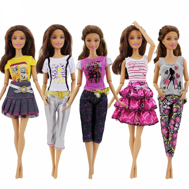 4fa408645cbb7 US $4.64 7% OFF|5 Pcs/Lot Handmade Fashion Outfit Daily Casual Wear T shirt  Pants Dress Clothes For Barbie Doll Accessories Baby Girl Gift Toy -in ...