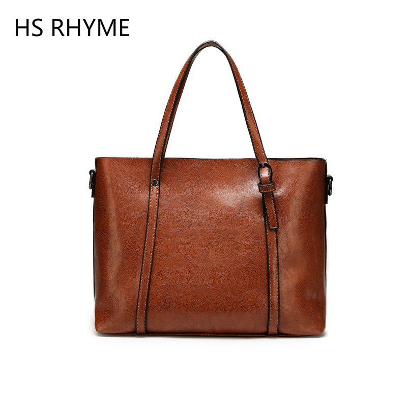 HS RHYME Famous Brand Leather Handbag Bolsas Mujer Large Vintage Tassel Shoulder Bags Women Shopping Tote Bag Purse sac a main