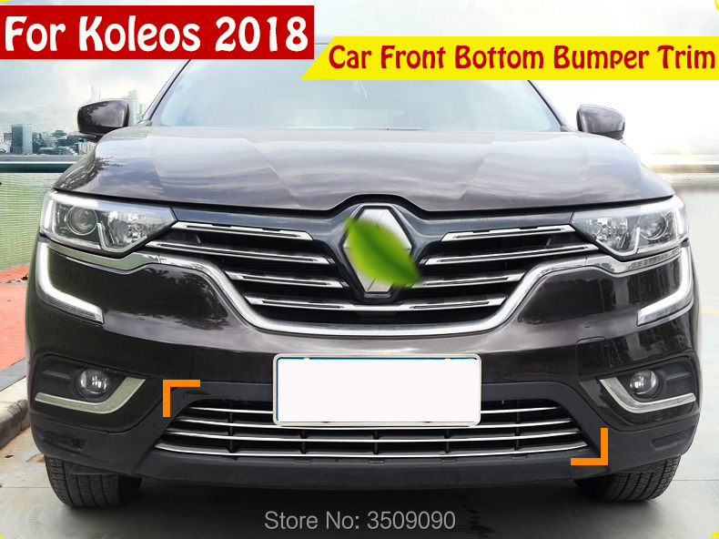 Car Styling Car Front Bottom Bumper Molding racing grill trim Cover 5Pcs/Set For Renault Koleos 2017 2018