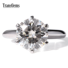 TRANSGEMS 4ct Carat Lab Grown Moissanite Diamond Jewelry Wedding Anniversary Band Solid 14K white Gold Engagement Ring for woman