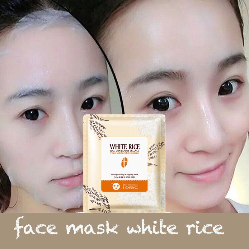 White RICE FACE SHEET Mask Facial Mask Korean Skin Care Mascara Facial Korean Face Mask Moisturizing Whitening