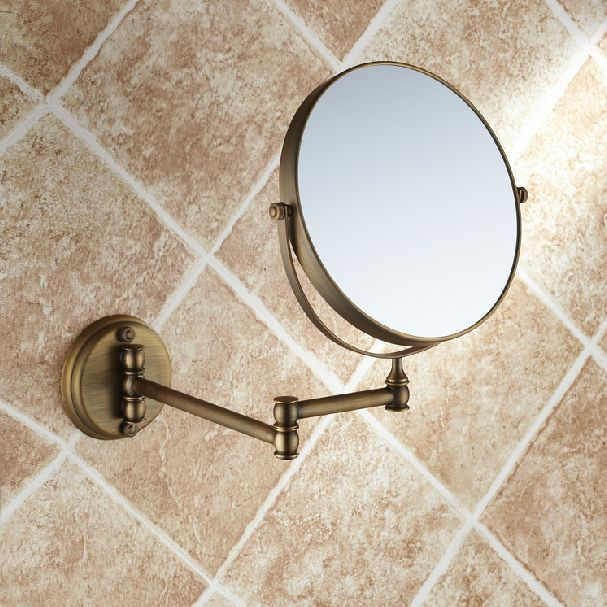 Owofan Bath Mirrors Rotating Antique Copper Retractable 2 Side Bathroom Wall Mirror 3 Magnifying