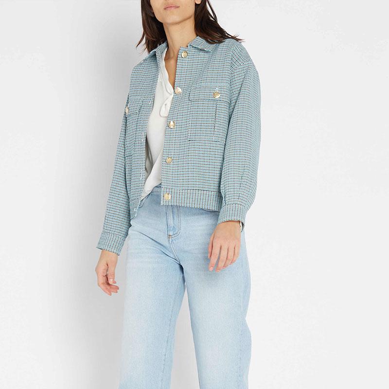 2019 جديد إمرأة فضفاض قصيرة سترة الأزرق منقوشة الرجعية عارضة JCoat-في السترات الأساسية من ملابس نسائية على  مجموعة 1