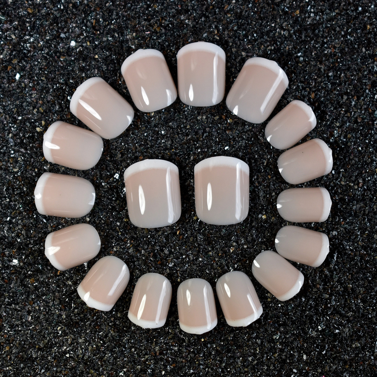 Shiny Natural Beige Acrylic French Nail Art Tips White