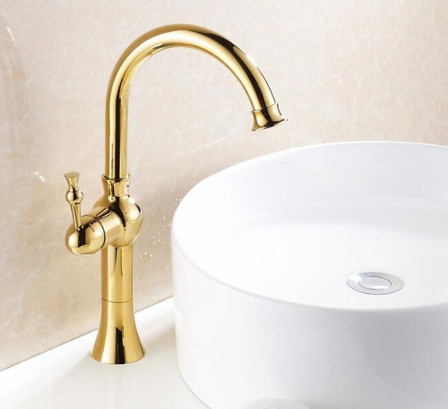 Hot sale Kitchen & bathroom hot and cold water sink faucets golden deck mounted basin taps mixer washbasin faucet tap contemporary kitchen faucet hot and cold mixer water tap deck mounted rotate stainless steel basin sinks tap bathroom faucets