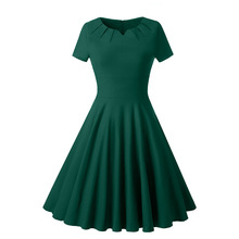 summer clothes 2019 new arrival Solid Color vintage midi work dress elegant zipper plus size dresses for women free shiping