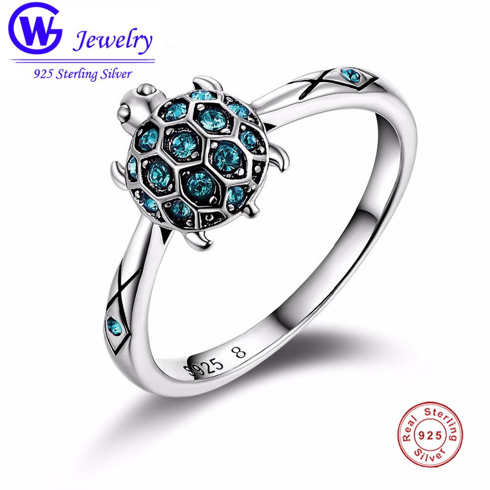 Lovely Turtle Ring Clear Crystal 925 Silver Women's Ring Wedding Jubileumsring Bästa julklapp