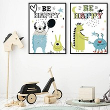 Cartoon Be Happy Monster Nursery Canvas Paintings POP Wall Art Pictures Kids Gift Poster and Print Bedroom Home Decor