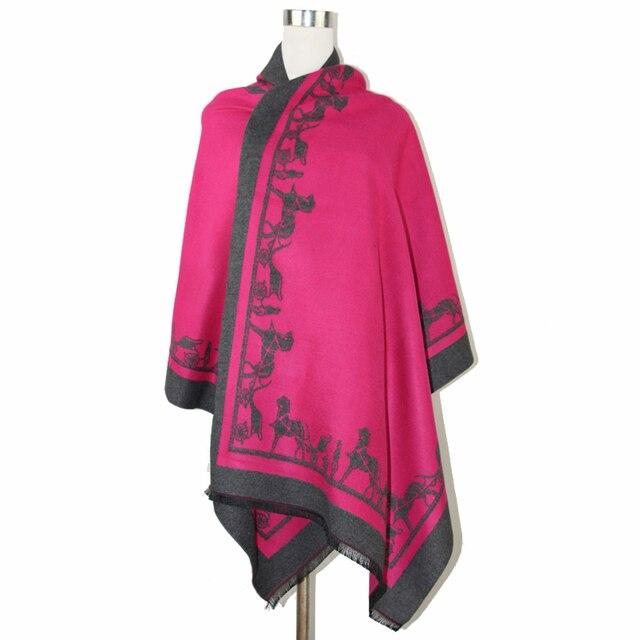 Hot Pink Winter Women Cashmere Pashmina Classic Reversible Cape Poncho Ultra Long Shawl Scarf kerchief 188*64cm NP093